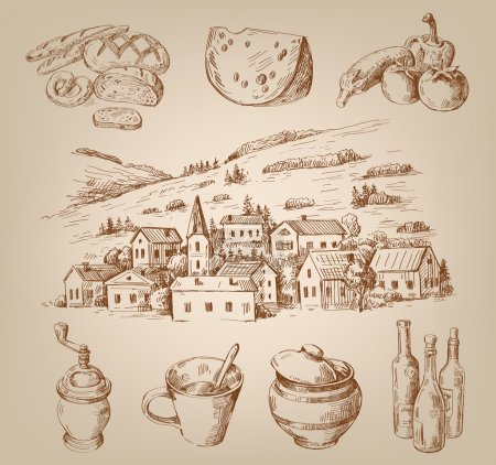 Hand drawn village