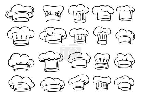 Illustration pour Vecteur noir chapeau de chef icône sur fond blanc - image libre de droit