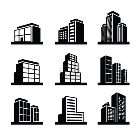 Vector black illustration of Building icon on whit...