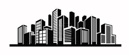 Illustration pour Illustration vectorielle en noir de l'icône Bâtiment sur blanc - image libre de droit