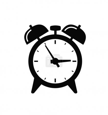 Illustration for Vector black alarm clock icon set on white - Royalty Free Image