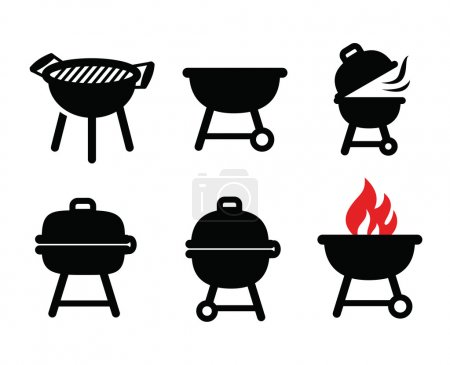 Illustration for Vector black barbecue  icons set on white - Royalty Free Image