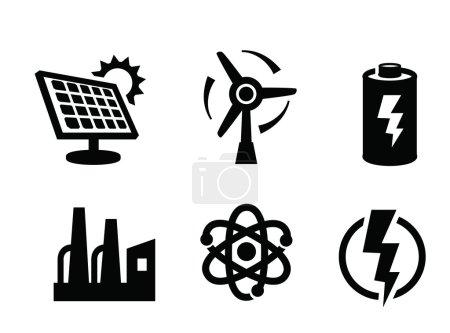 Illustration pour Icône de panneau solaire noir vecteur sur fond blanc - image libre de droit