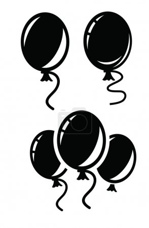 Illustration for Vector black Balloon icon on white background - Royalty Free Image