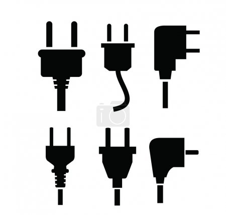 Illustration for Vector black electric plug icon on white background - Royalty Free Image