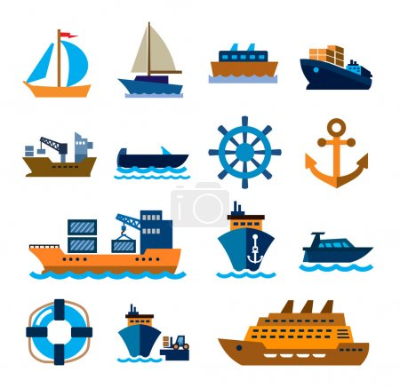 Illustration for Vector color boat and ship icons on white background - Royalty Free Image