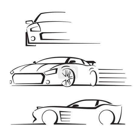 Illustration pour Vecteur noir auto réglé sur fond blanc - image libre de droit