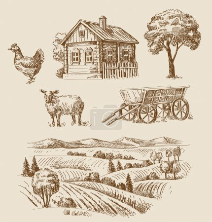 Illustration for Vector seamless farm and animals hand drawn set - Royalty Free Image