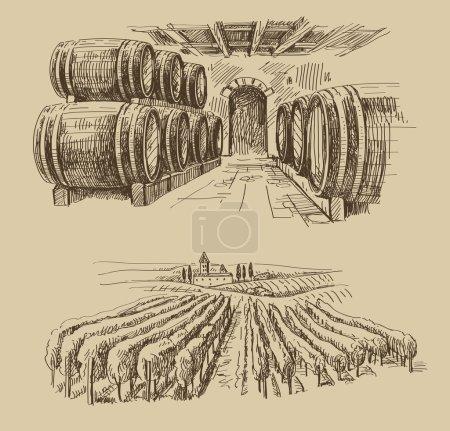 Vector hand drawn barrels sketch and vineyard dood...