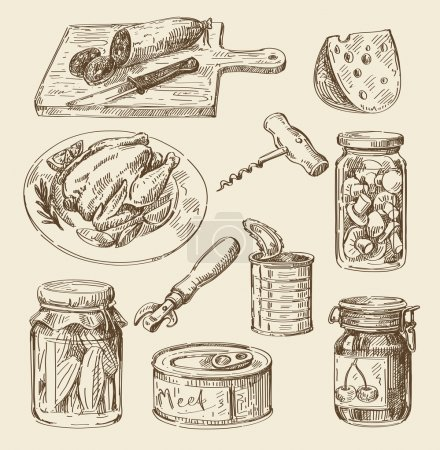 Illustration for Vector hand drawn food sketch and kitchen doodle - Royalty Free Image