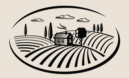 Illustration for Vector black farm and field on beige background - Royalty Free Image