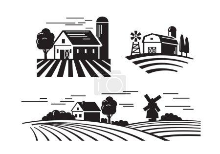 Flat farm icons