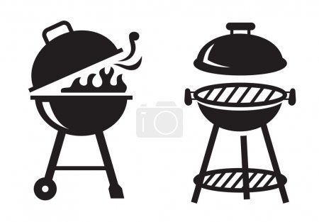 Illustration for Vector black BBQ Grill icons on white background - Royalty Free Image