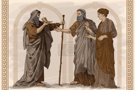 Illustration for Antique fresco, a scene from the life of ancient Greece. Two old men and a young slender woman are standing, talking and drinking wine from the horn. - Royalty Free Image
