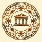 Vector Greece ornament Temple of the Olympian gods with columns and graphic elements