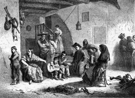 Photo pour 1869, exposition de peinture, un enfant précoce, à Worms, vintage illustration gravée. Magasin Pittoresque 1869 - image libre de droit