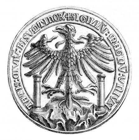 Great Seal of the town of Besancon in 1434, vintage engraving.