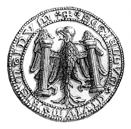 Small seal of the town of Besancon in 1434, vintage engraving.