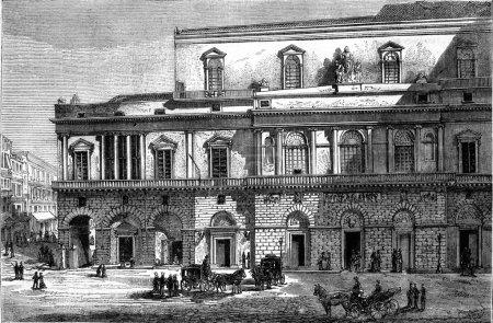 Royal Theatre of Saint Charles, vintage engraving.