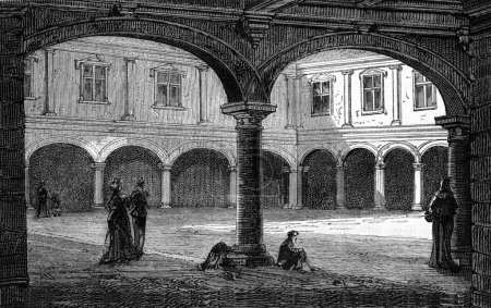 The Court of the palace Granvelle, Besancon, vintage engraving.