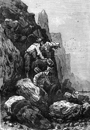 Photo pour Ils étaient venus jusqu'au lac, illustration gravée vintage. Jules Verne 3 Russe et 3 Anglais, 1872 - image libre de droit