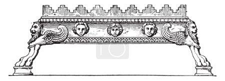 Brasier embattled, vintage engraving.