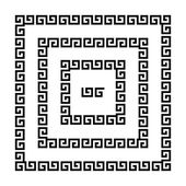 Set of meander borders Ancient seamless square Greek key frames Greek national antique meandros lines vector Rectangular pulse