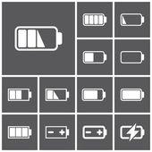 Set of flat simple web icons (charge level indicators batteries accumulators ) vector illustration