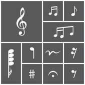 Icon set of musical notes
