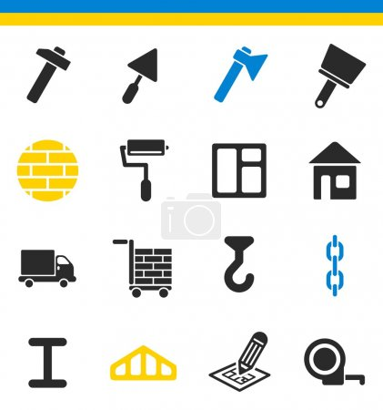 Construction, building icons
