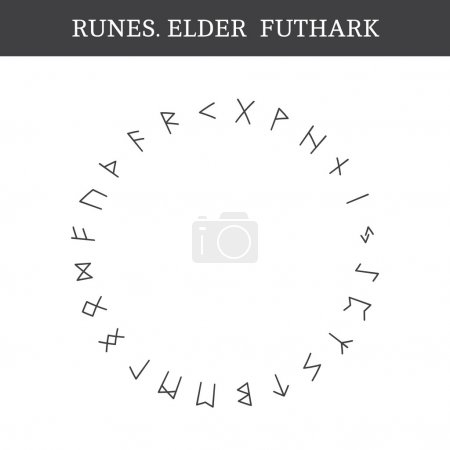 Set of ancient Old Norse runes (Elder Futhark), ve...