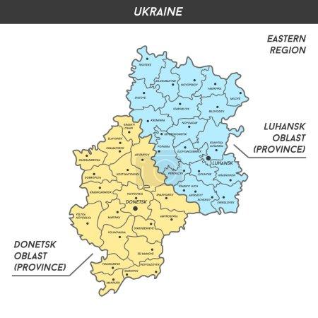 Map of Donetsk and Luhansk oblast