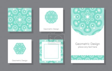 Set of simple cards with geometric pattern
