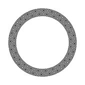 Circle ornament meander Round frame rosette of ancient elements Greek national antique round pattern vector Gammadion cross pattern