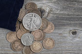 Bag of United States Rare Coins on Wood