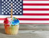 Cupcake decorated in Fourth of July holiday colors