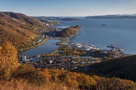 View of Petropavlovsk-Kamchatsky City, Avacha Bay and Pacific Ocean. Far East, Russia
