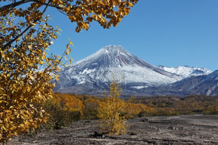 Autumn view of active Avacha Volcano on Kamchatka, Russia