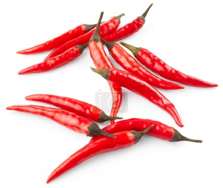 Chilli peppers  on white