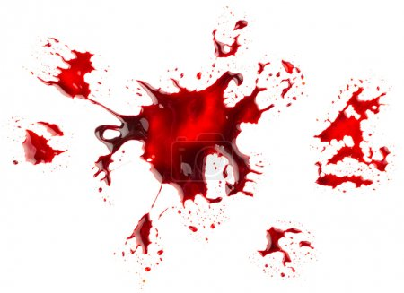 Photo for Big Red Bloodstain isolated on white background - Royalty Free Image