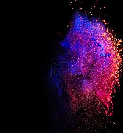 Photo for Splash of colorful paint on black background - Royalty Free Image