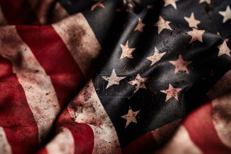 Photo for Grunge american flag with dirt and blood close up - Royalty Free Image