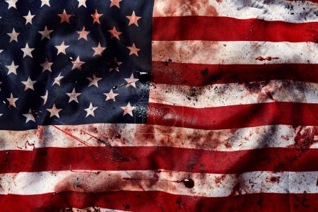 Photo for Grunge american flag background with dirt and blood on it - Royalty Free Image