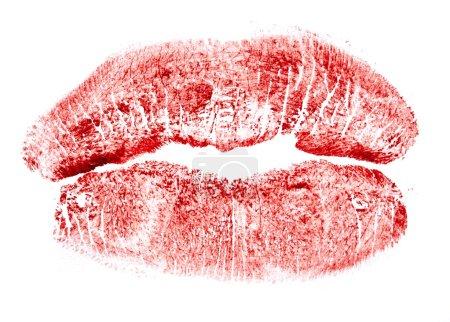 Photo pour Rouge à lèvres baiser isolé sur fond blanc - image libre de droit