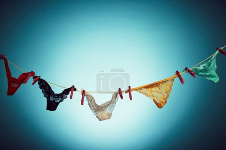 Woman's panties hanging on rope...