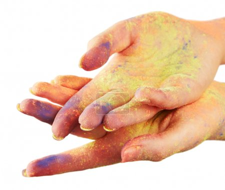 Female hand in paint