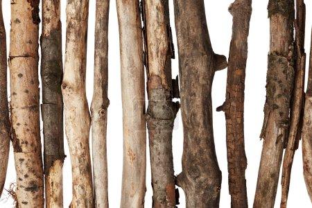 Wooden sticks on white background