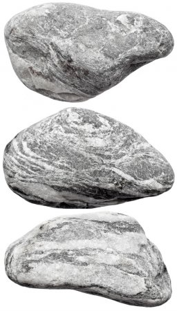 Grey rocks on white background