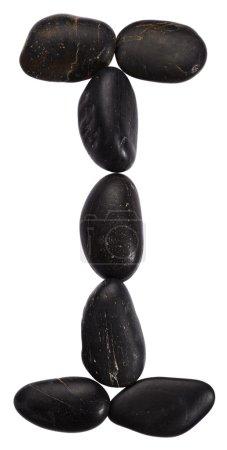 Photo pour Alphabet à partir de pierres isolées sur fond blanc. Lettre I - image libre de droit