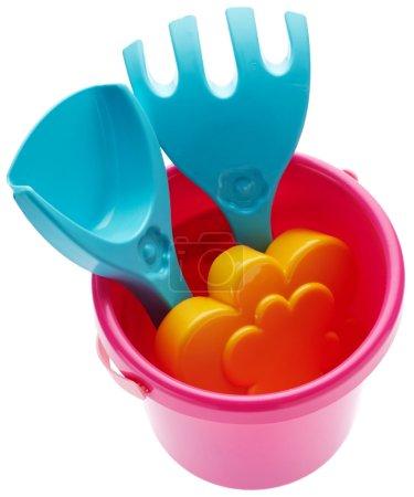 Children's bucket, spade and rake